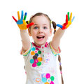 Cheerful little girl with hands in paint on white Royalty Free Stock Photo