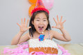 Cheerful little girl at her birthday party closeup portrait of a Stock Photography