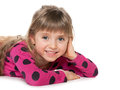 Cheerful little girl imagines a on the white background Royalty Free Stock Images