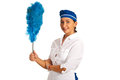 Cheerful maid with whisk dust holding blue isolated on white background Royalty Free Stock Photos
