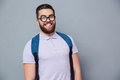 Cheerful male nerd looking at camera Royalty Free Stock Photo