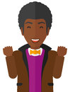 Cheerful man experiencing euphoria an african american in with raised hands and closed eyes vector flat design illustration on Stock Images