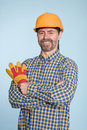 Cheerful man in helmet Royalty Free Stock Photo