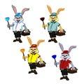 Cheerful mischievous plump rabbit plumber