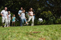 Cheerful multi generation family playing football in the park Stock Image