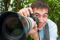 The cheerful photographer Royalty Free Stock Photography