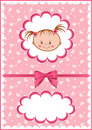 Cheerful pink babies card. Royalty Free Stock Photography