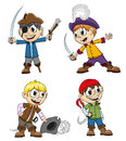 Cheerful pirates children in costumes with toy weapons on a white background Royalty Free Stock Photo