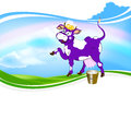 Cheerful purple cow and a bucket of fresh milk on a green meadow Royalty Free Stock Photos