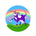 Cheerful purple cow label dairy products a Royalty Free Stock Photography