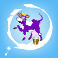 A cheerful purple cow label dairy products and bucket of fresh milk Stock Images