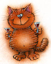 Cheerful red cat offers to drink alcohol