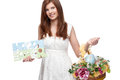 Cheerful red haired woman short white dress holding easter basket happy easter sign isolated white Royalty Free Stock Image