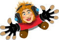 Cheerful redhaired dj illustration of a cartoon Stock Images