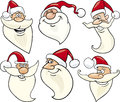 Cheerful santa claus cartoon faces icons set Royalty Free Stock Photography