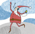 Cheerful santa claus listening player and dancing audio in headphones vector illustration Royalty Free Stock Photography