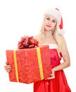 image photo : Cheerful santa helper girl with gift box