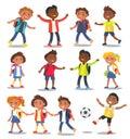 Cheerful School Children Isolated Illustrations