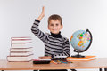 Cheerful Schoolboy ready to answer question Royalty Free Stock Photo