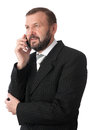 Cheerful senior business man talking cell phone isolated white Royalty Free Stock Image