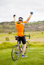 Cheerful senior cyclist Royalty Free Stock Image