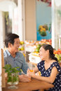 Cheerful seniors copy spaced image of a couple of having fun in the grocery Royalty Free Stock Photography