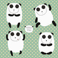 Cheerful set with cartoon panda does yoga Royalty Free Stock Photo