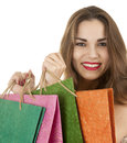 Cheerful shopping girl Stock Photos