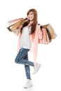 Cheerful shopping woman Royalty Free Stock Images