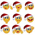 Set of Beautiful Smiley Faces with Different Emotional Expressions. Seasonal Winter Design. 3D Vector Illustration