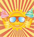 Cheerful smiley with ice cream on a vintage backgr summer background cocktails and sunshine for your ideas eps Royalty Free Stock Photo