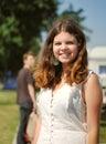 Cheerful smiling teenage girl outdoor portrait opened Stock Photo