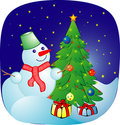 Cheerful snowball on a christmas background Royalty Free Stock Photography