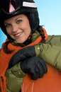 Cheerful snowboard woman ready for winter Royalty Free Stock Photo