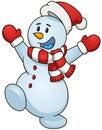 Cheerful Snowman. Vector Illus...