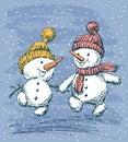 Cheerful snowmen go on a walk