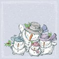 Cheerful snowmen vector drawing of the happy family Royalty Free Stock Photo