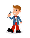 Cheerful soloist with the microphone a vectorial illustration. Royalty Free Stock Photo