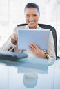 Cheerful sophisticated businesswoman holding tablet computer in bright office Stock Photos