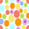 Cheerful spring background with abstract flower motif. Green, yellow, blue, red and orange blossom on white background. Royalty Free Stock Photo