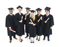 Cheerful and successful graduating students group of Royalty Free Stock Photos