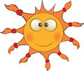 The cheerful sun cartoon is yellow orange with plaits Stock Photos
