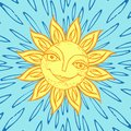 Cheerful sun for the design of summer holidays, picnics, children`s parties. Great weather. Hand-drawn sketch style on