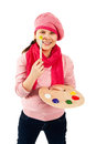 Cheerful teen girl is young artist she holds in her hands the palette with paints she looks straight in camera and is smiling Stock Photos