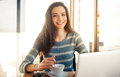 Cheerful teenager at the cafe Royalty Free Stock Photo