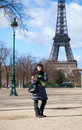 Cheerful tourist in Paris Royalty Free Stock Photos