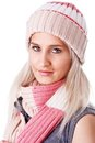Cheerful woman clothing in warm hat Stock Photos