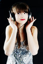 Cheerful woman with headphones Stock Photography