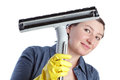 Cheerful woman middle aged homemaker prepares for house cleaning Stock Images
