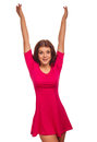 Cheerful woman raised hands up happy Stock Images